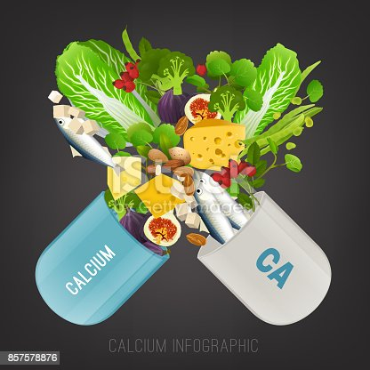 High calcium Foods in open capsule. Healthy greens, fish, nuts, berries, swiss cheese and tofu. Vector illustration in bright colours on a dark grey background.