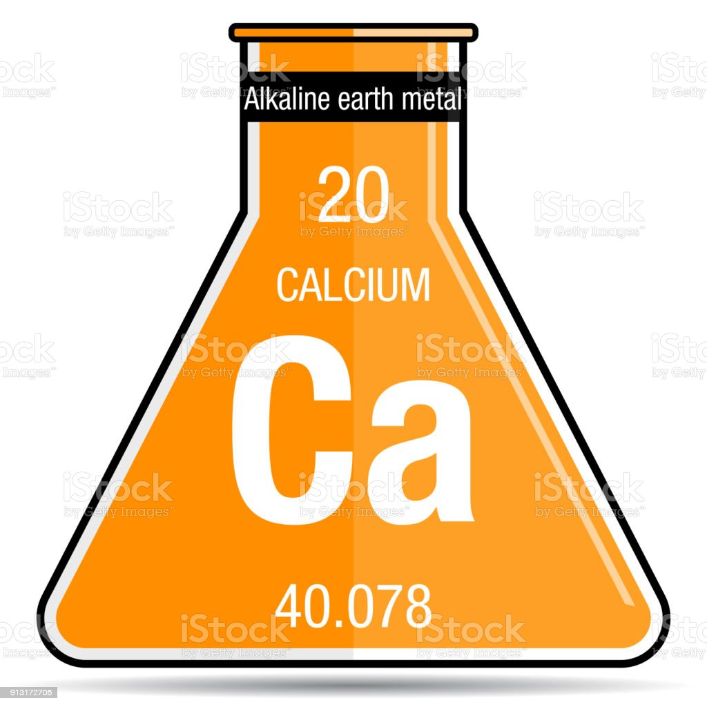 Calcium Symbol On Chemical Flask Element Number 20 Of The Periodic