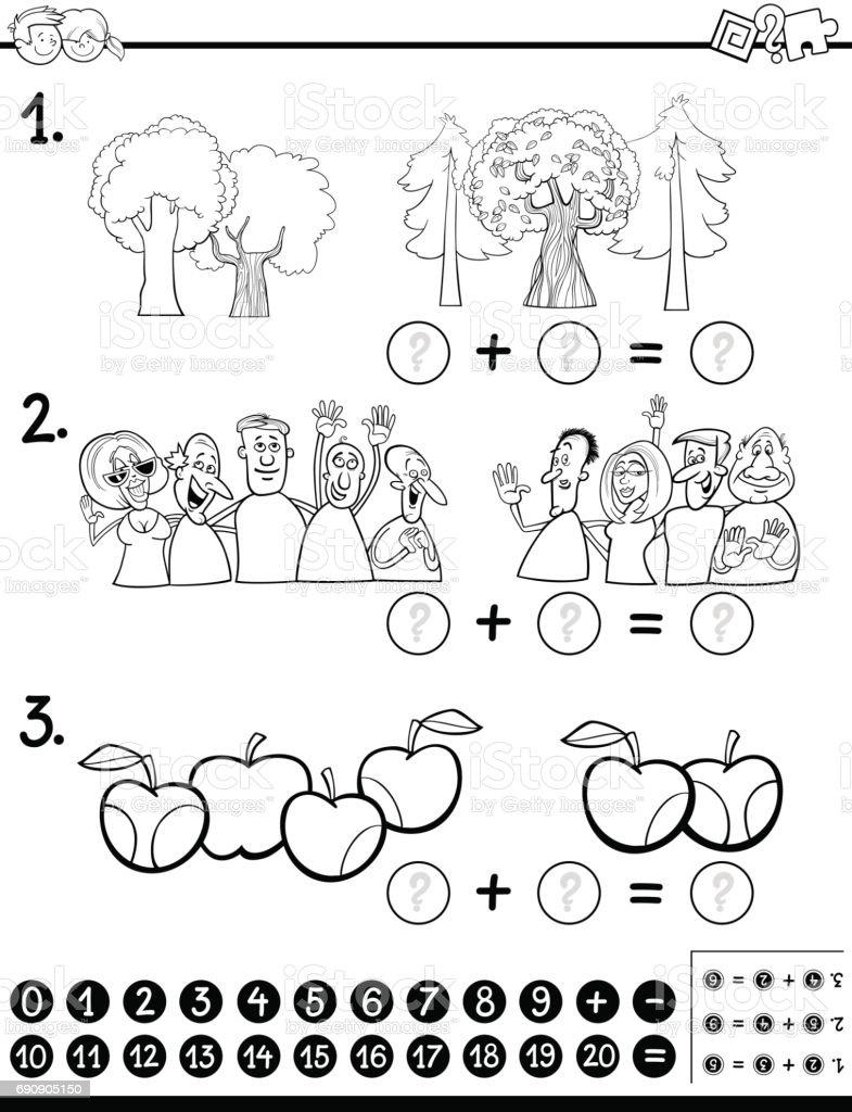 Matematik Etkinlik Sayfa Boyama Hesaplama Stok Vektor Sanati 4 5