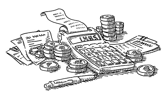 Calculation Financial Expenses Money Concept Drawing