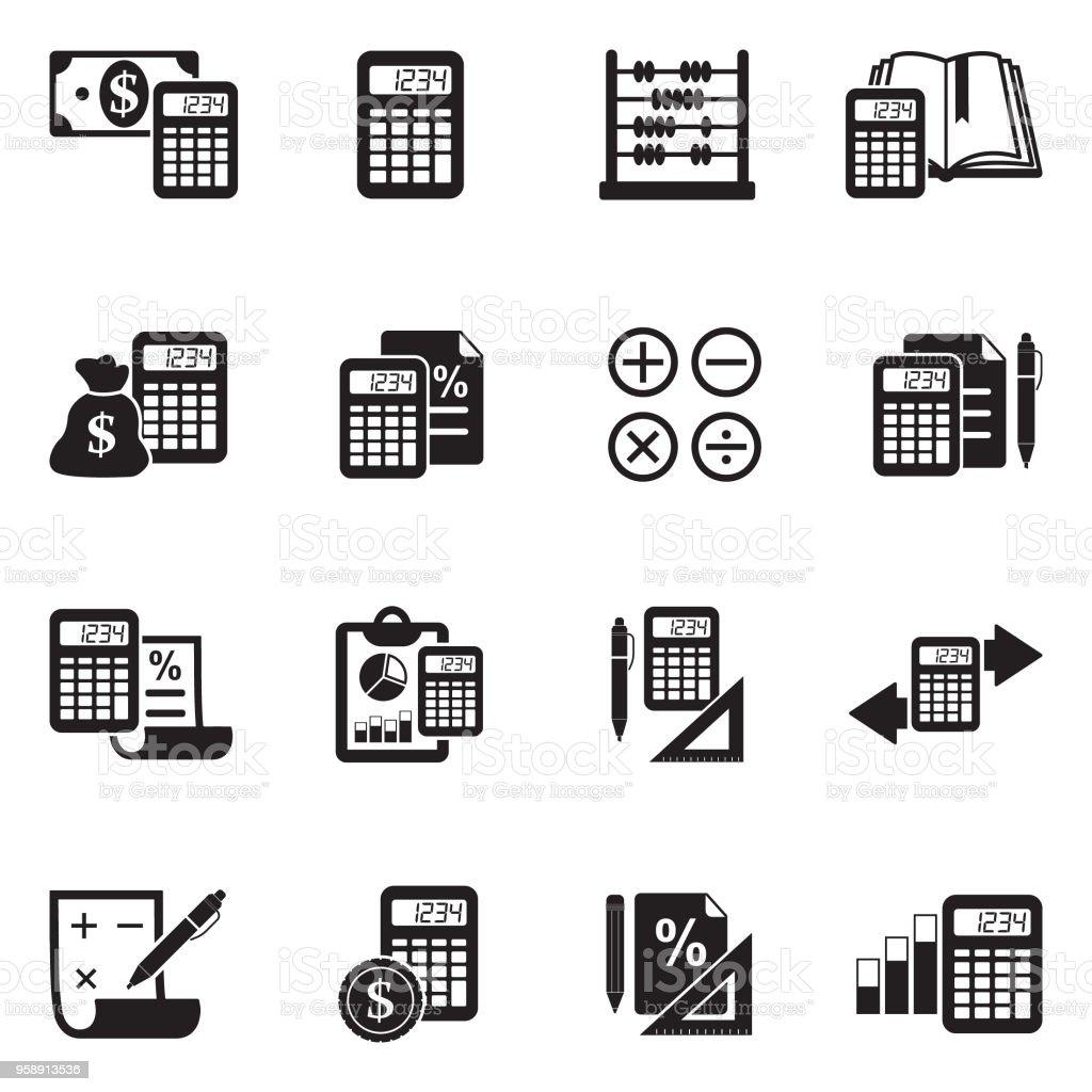 Calculation Icons. Black Flat Design. Vector Illustration.
