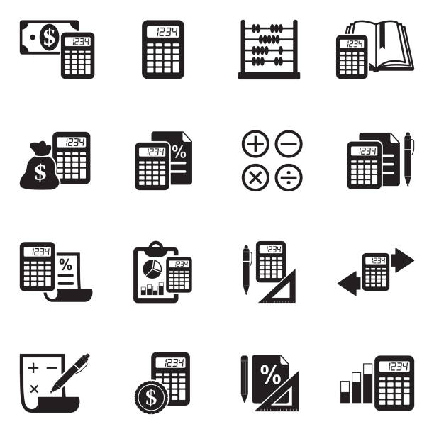 Calculation Icons. Black Flat Design. Vector Illustration. Calculator, Percentage, Mathematics, Money accounting stock illustrations