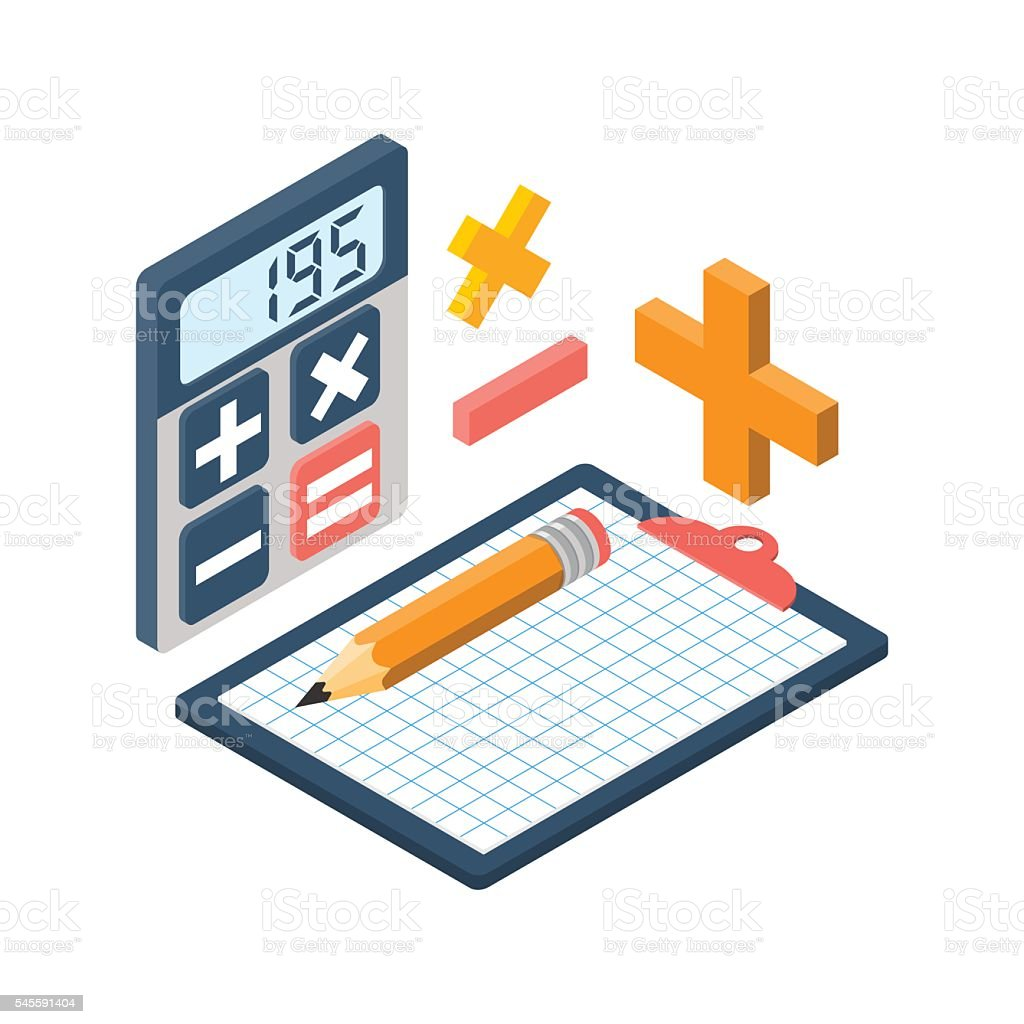 Calculation isometric. Vector - Illustration vectorielle