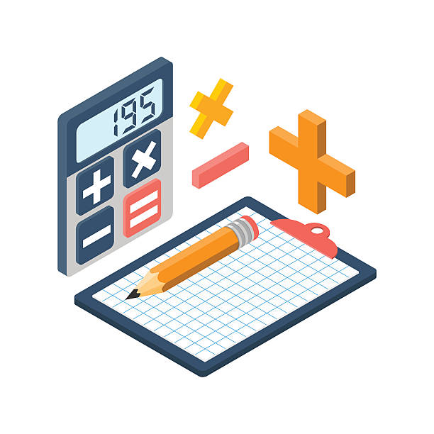 calculation isometric. vector - math class stock illustrations, clip art, cartoons, & icons