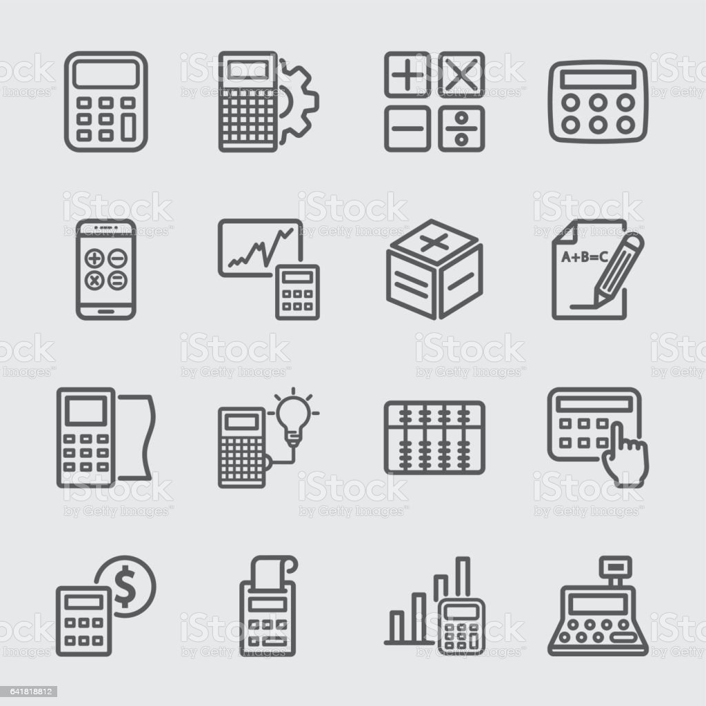 Calculation line icon vector art illustration