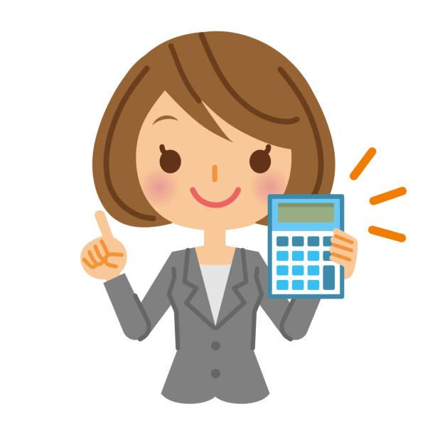 電卓とビジネスの女性。 - ファイナンシャルアドバイザー点のイラスト素材/クリップアート素材/マンガ素材/アイコン素材