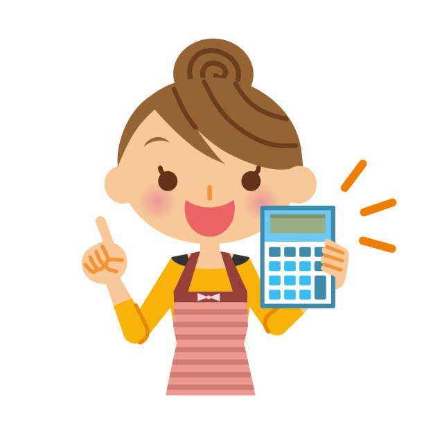電卓と主婦。 - 主婦 日本人点のイラスト素材/クリップアート素材/マンガ素材/アイコン素材