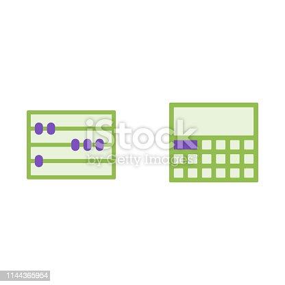 Calculator and mathematical abacus vector flat icons, mathematics vector illustration