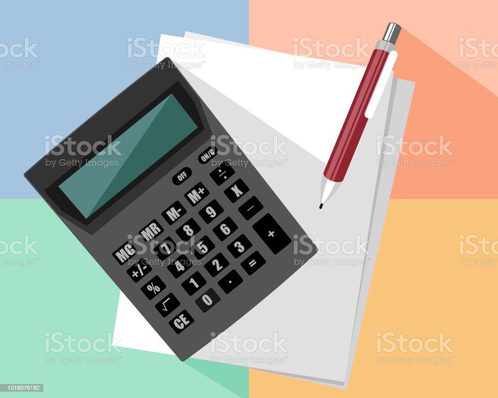 Calculator and pen vector art illustration