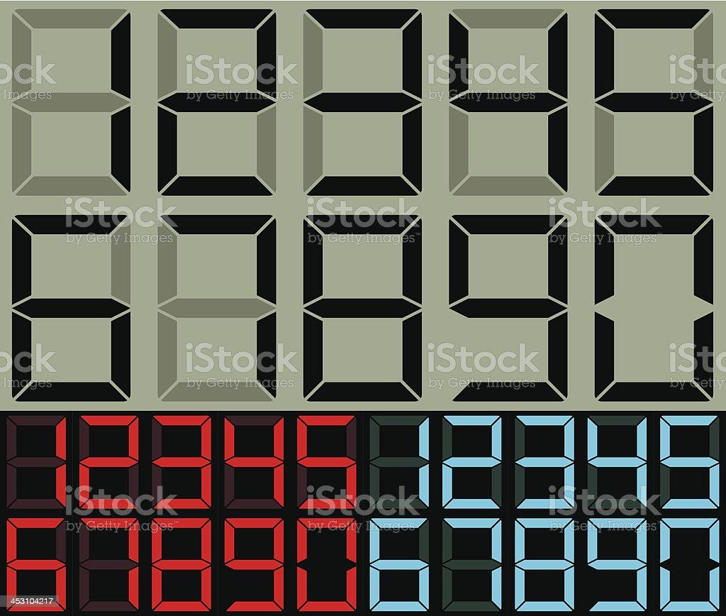 Calculator and table clock digits vector art illustration