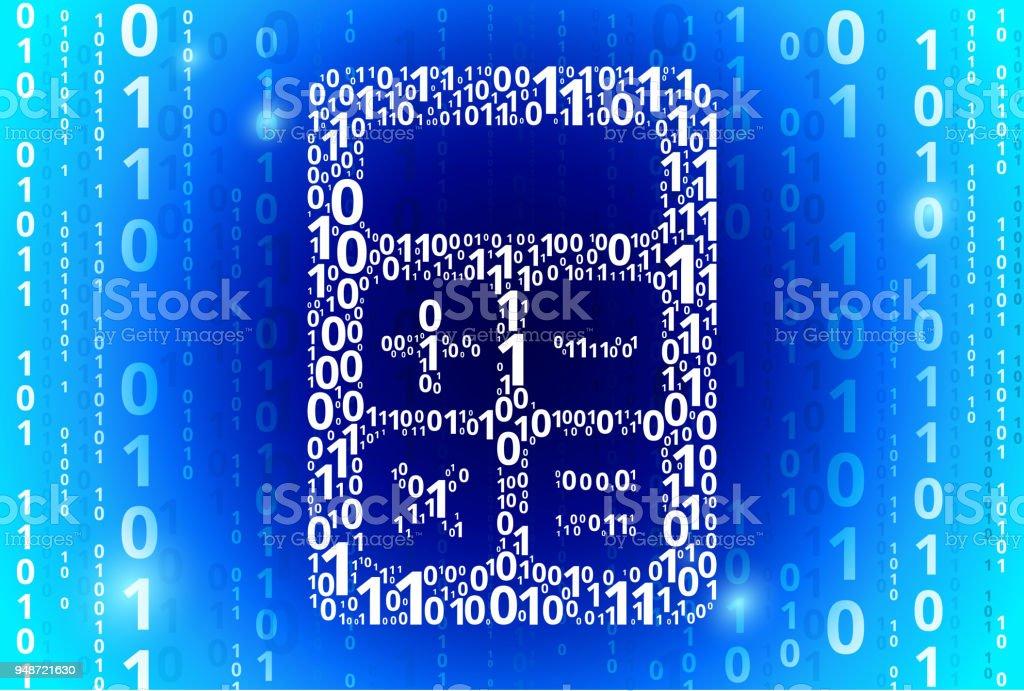 Calculator Binary Code Blue Vector Pattern Background Stock