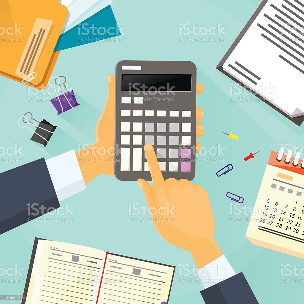 Calculator Business Man Hand Office Desk Accountant vector art illustration