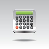 Vector illustration of realistic electronic calculator button.