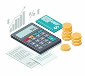 istock Calculator, coins and cash receipt on white background. Isometric illustration. 1291915352