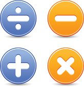 Calculator icon circle button addition multiplication division subtraction sign