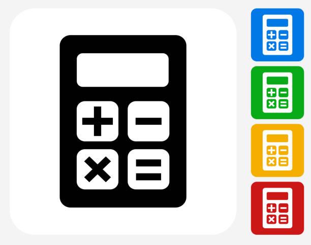 illustrazioni stock, clip art, cartoni animati e icone di tendenza di calcolatore icona piatto di design grafico - calcolatrice
