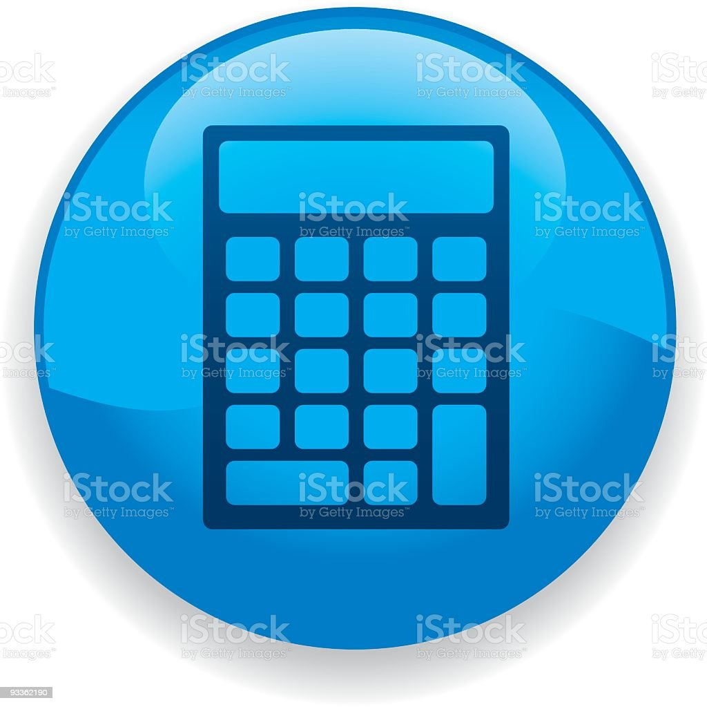 Calculator icon outline inside of a blue circle royalty-free stock vector art