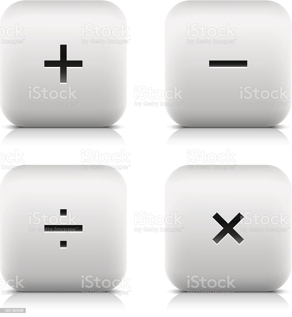 Calculator icon plus minus division multiplication square button black sign royalty-free stock vector art