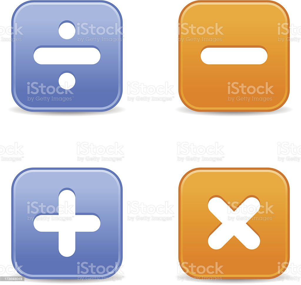 Calculator icon square button addition multiplication division subtraction sign royalty-free stock vector art