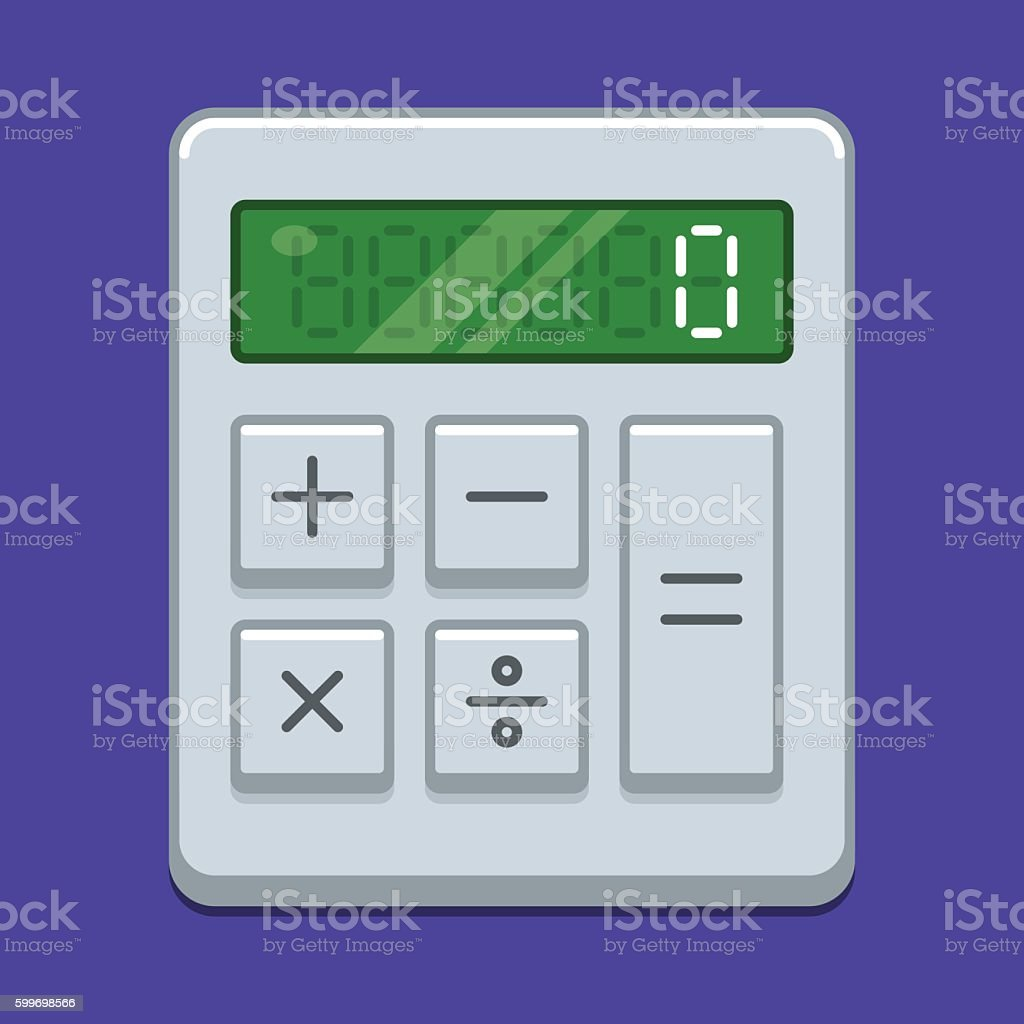 Calculator Icon With Green Display On Purple Background Stock Vector ...