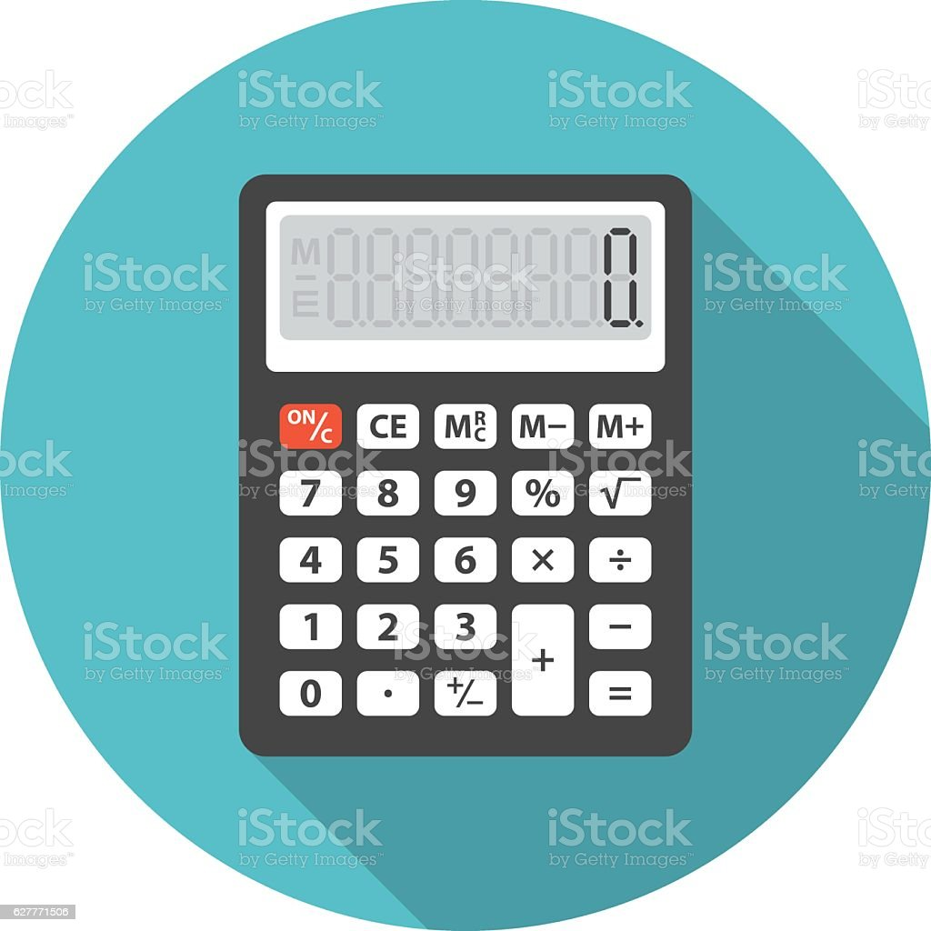 Calculator icon with long shadow. vector art illustration