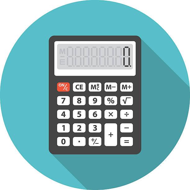 illustrazioni stock, clip art, cartoni animati e icone di tendenza di calcolatore icona con lunga ombra. - calcolatrice