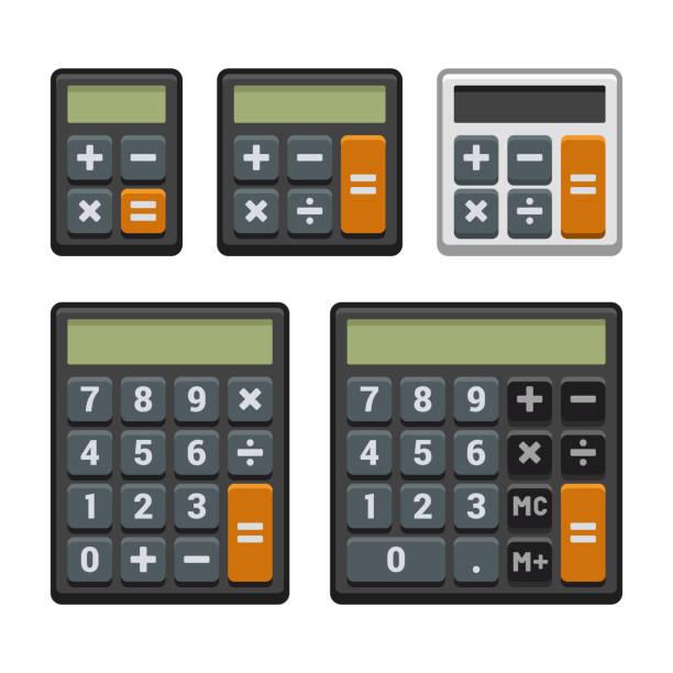 ilustraciones, imágenes clip art, dibujos animados e iconos de stock de iconos de calculadora establecidos en fondo blanco. vector - calculator
