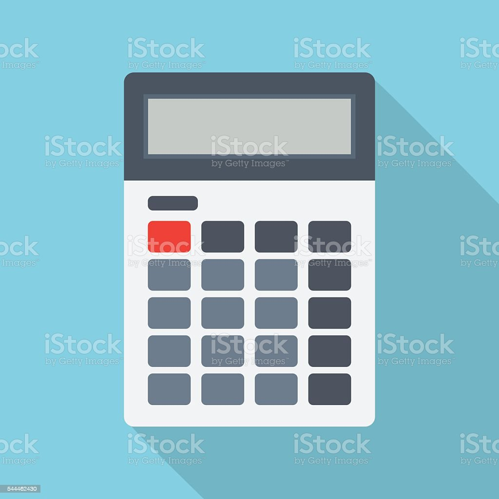Calculator isolated on a colored background vector art illustration