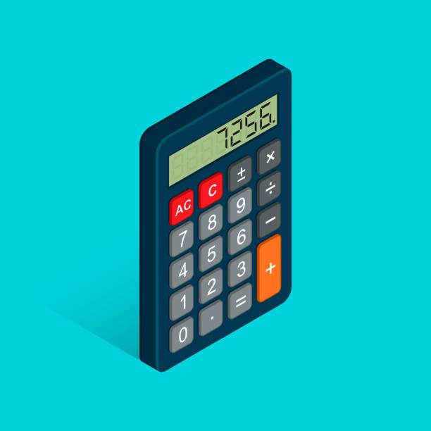 illustrazioni stock, clip art, cartoni animati e icone di tendenza di calculator isometric flat icon. 3d vector colorful illustration isolated on blue background - calcolatrice