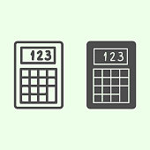 Calculator line and solid icon. Electronic device for accounting and calculating outline style pictogram on white background. Technology signs for mobile concept and web design. Vector graphics.