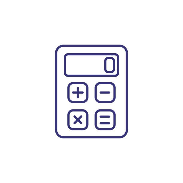 illustrazioni stock, clip art, cartoni animati e icone di tendenza di calculator line icon - calcolatrice