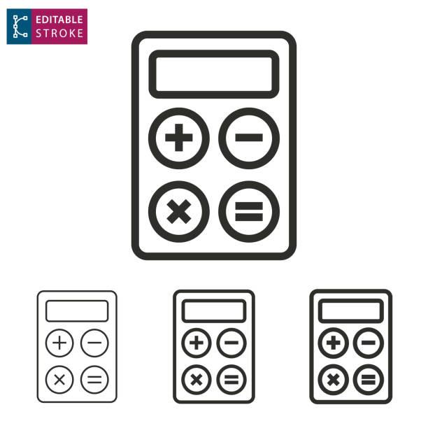 ilustraciones, imágenes clip art, dibujos animados e iconos de stock de icono de vector de línea calculadora. movimiento editable. - calculator