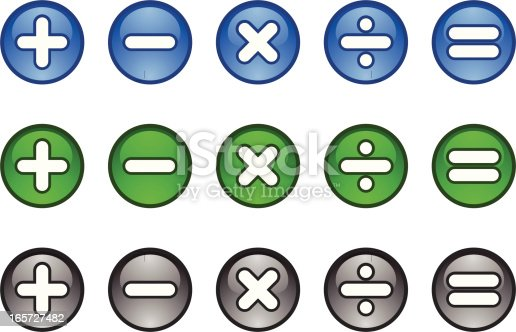 Mathematical symbols - Plus, minus, multiply divide and equals. Buttons/symbols/icons are in blue, green and grey