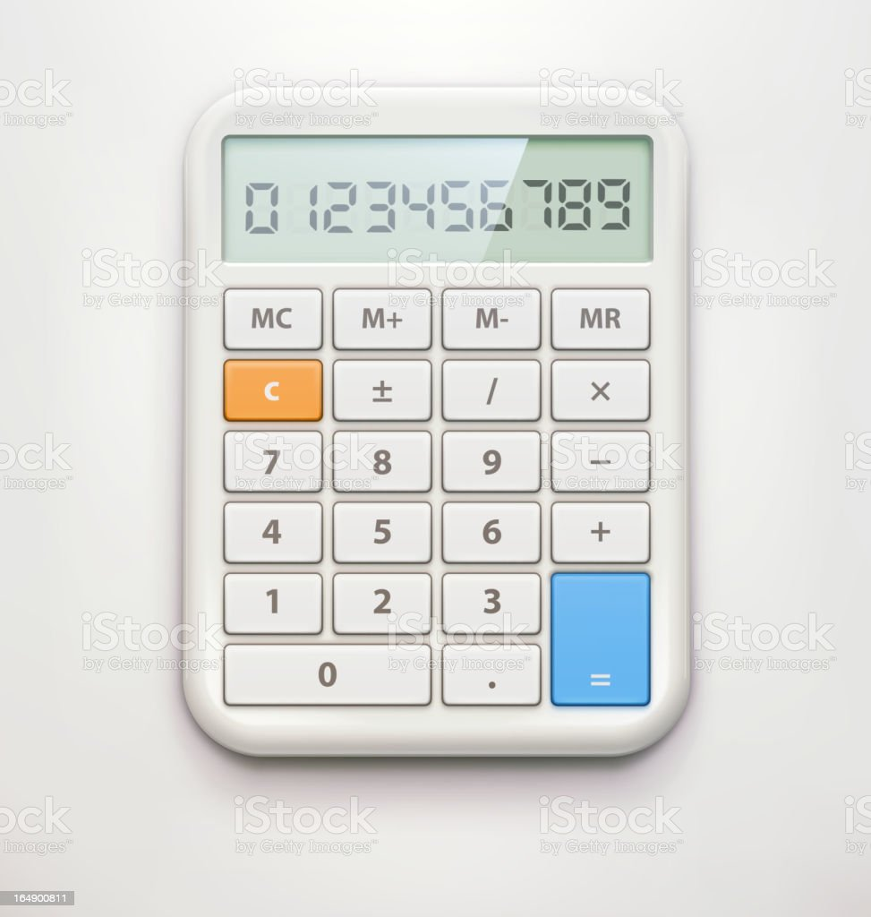 Calculator over white background vector art illustration