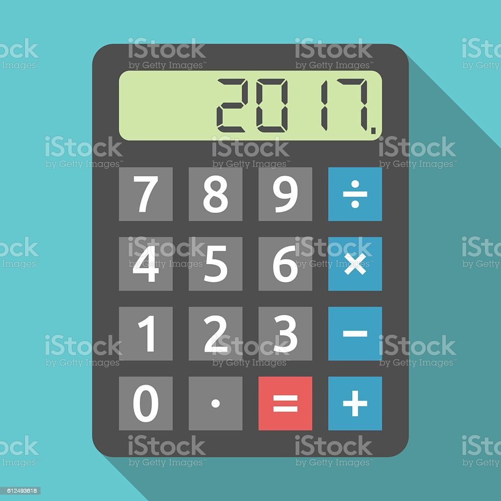 Calculator showing 2017 year vector art illustration