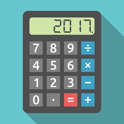 Calculator Showing 2017 Year Stock Vektor Art und mehr Bilder von 2017