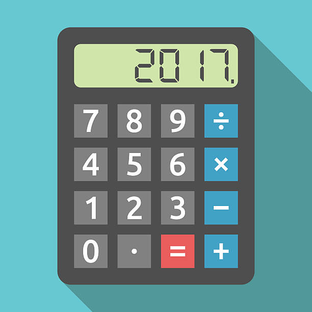 calculator showing 2017 year - rechenmaschine stock-grafiken, -clipart, -cartoons und -symbole