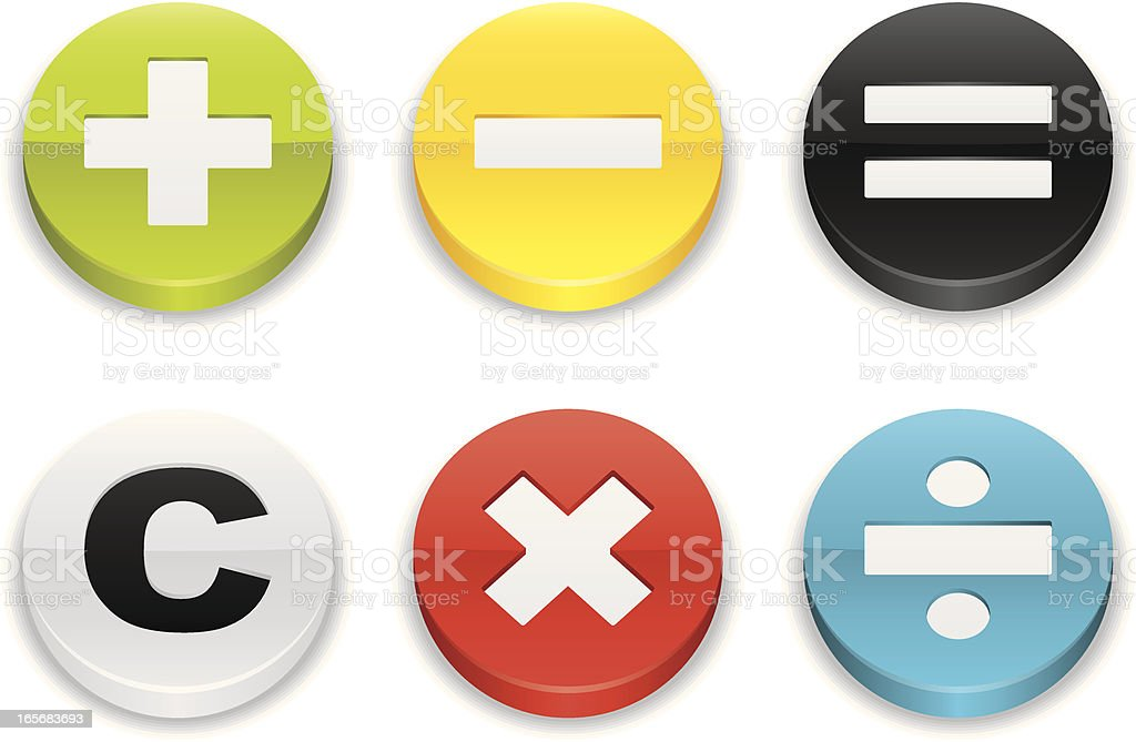 Calculator Signs Flat Button Icons Stock Illustration - Download