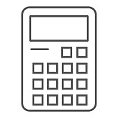 Calculator thin line icon. Accounting electronics, calculation purpose device symbol, outline style pictogram on white background. Stationery sign for mobile concept, web design. Vector graphics