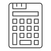 Calculator thin line icon. Simple tool for calculate symbol, outline style pictogram on white background. Office or stationery item sign for mobile concept and web design. Vector graphics