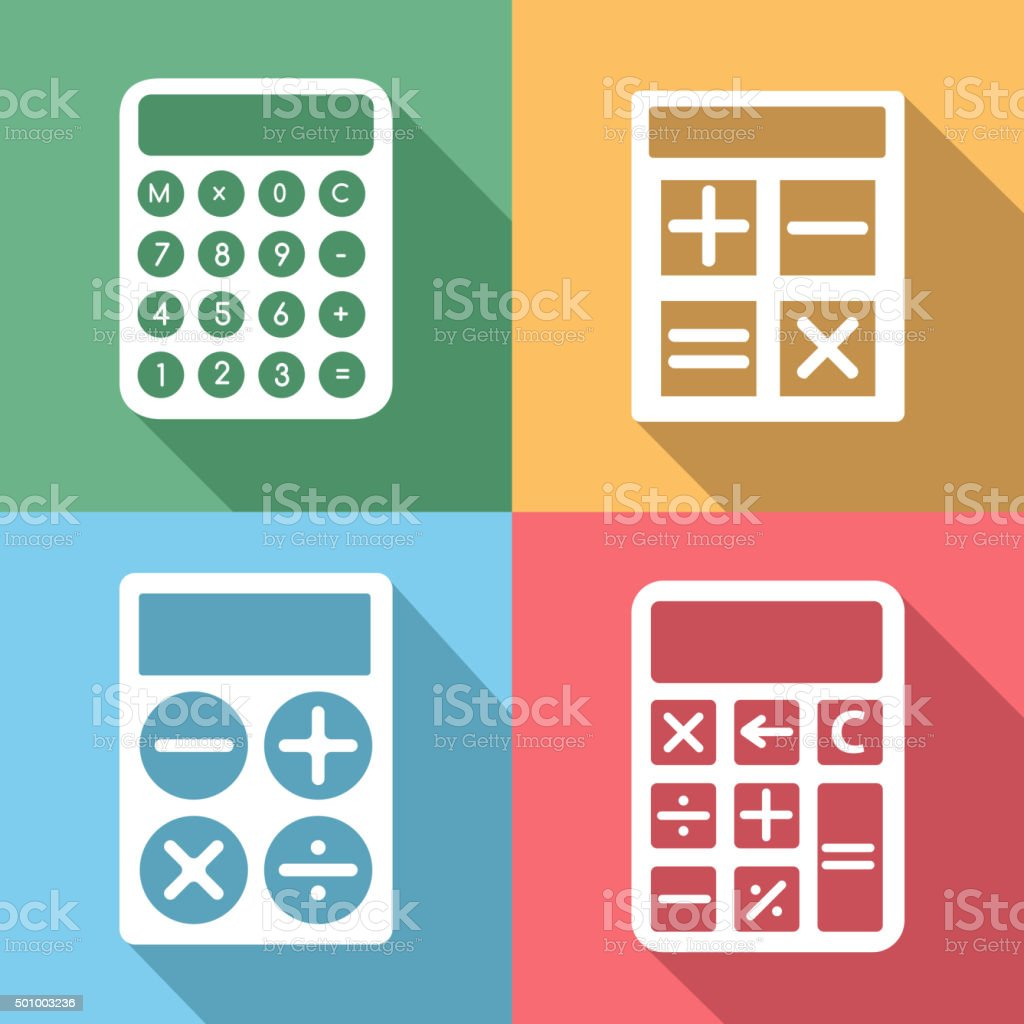 Calculator vector icons set with long shadow effect vector art illustration