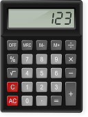 Top View of Black Calculator. Illustration on white