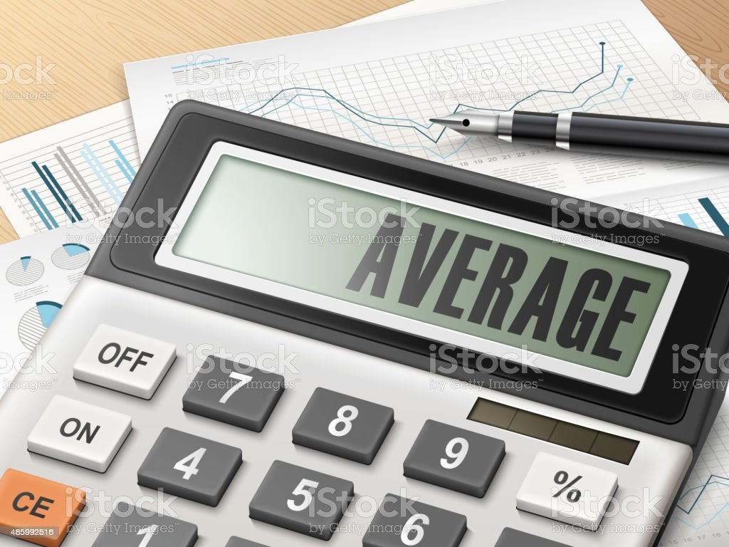 calculator with the word average vector art illustration