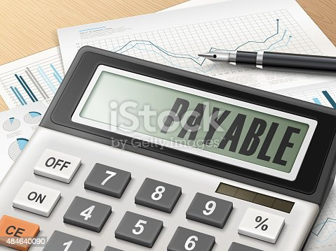 calculator with the word payable on the display