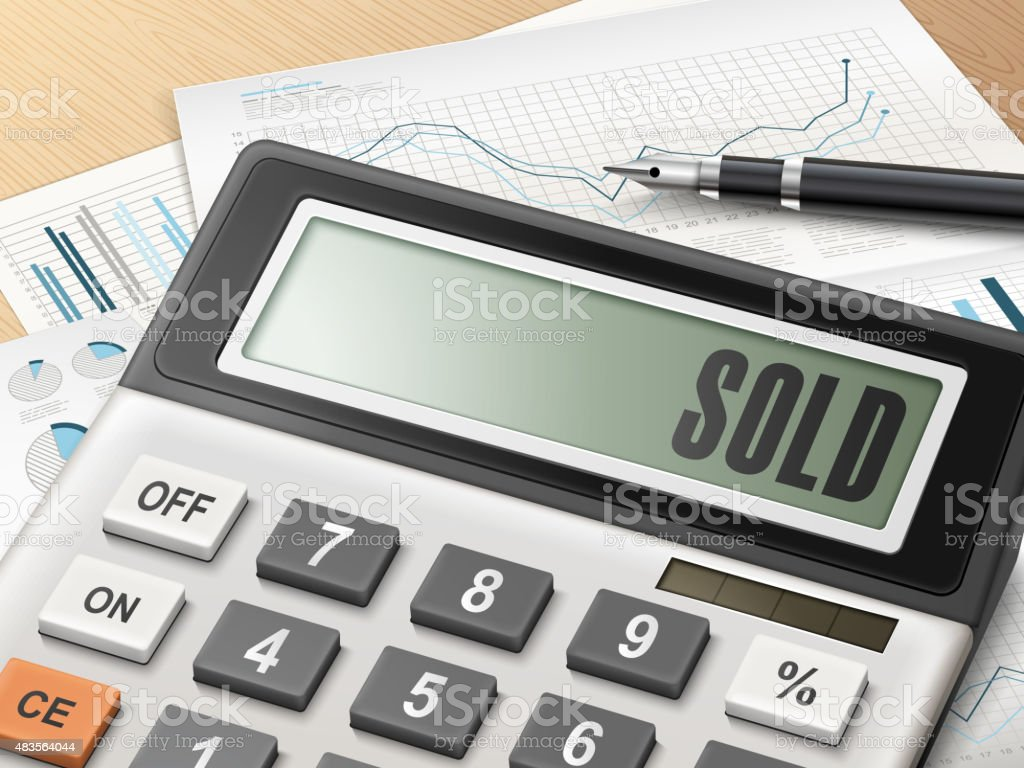 calculator with the word sold vector art illustration