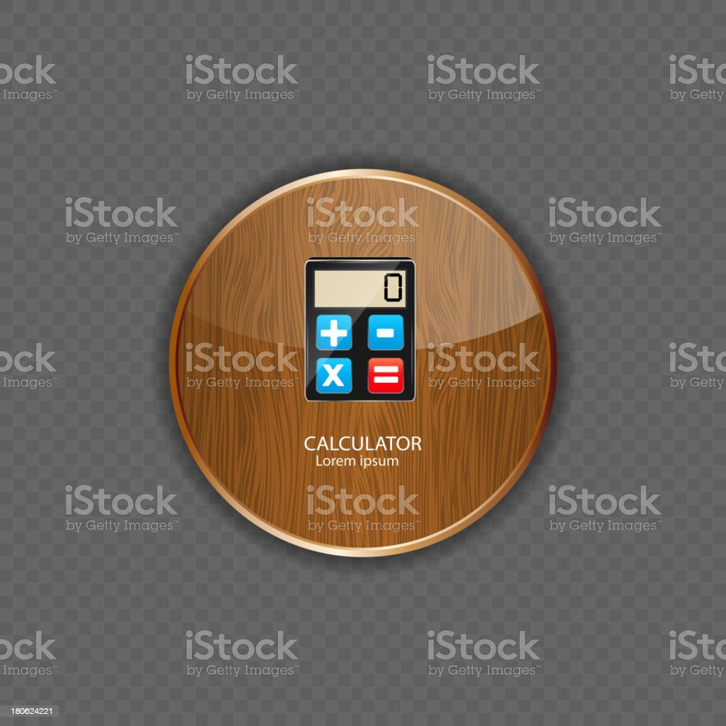 Calculator wood application icons vector illustration royalty-free stock vector art