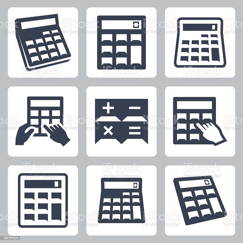Calculators vector icons set vector art illustration