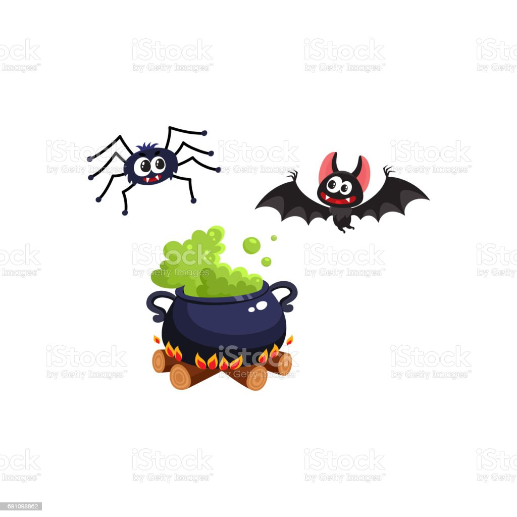 Caldron, bat and spider, traditional Halloween symbols, elements vector art illustration