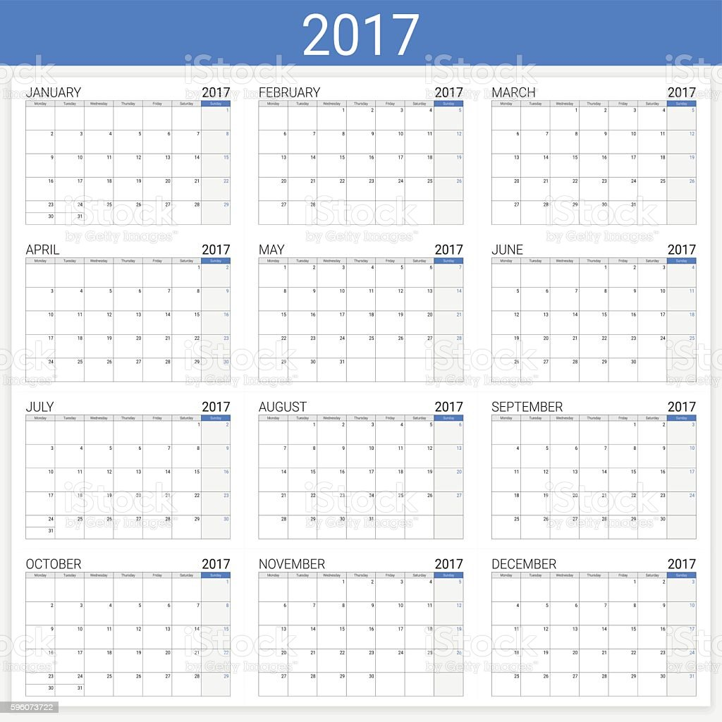2017 calendar (or desk planner), 12 month set vector art illustration