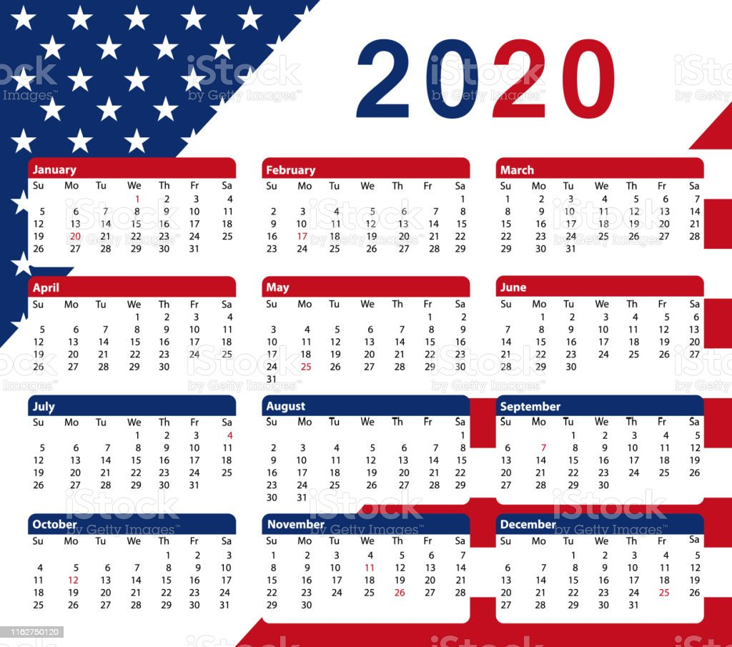 2020 Usa Calendar 12 Months Colors Of The American Flag Vector Printable Design Stock Illustration Download Image Now Istock